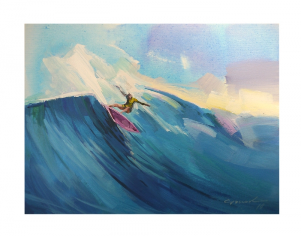 GANADU SURF ART ORIGINAL PAINTINGS CUT BACK GIRL 30X40