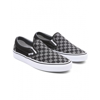 VANS CHECKERBOARD CLASSIC SLIP-ON SHOES BLACK PEWTER