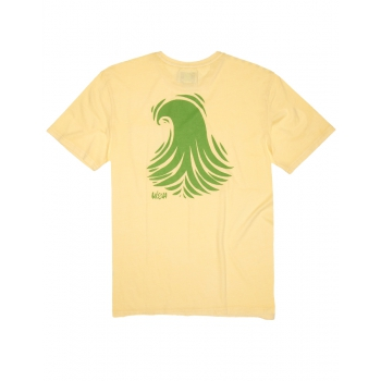 VISSLA T-SHIRT THOMAS CAMPBELL WAVES PIGMENT DUSTY YELLOW
